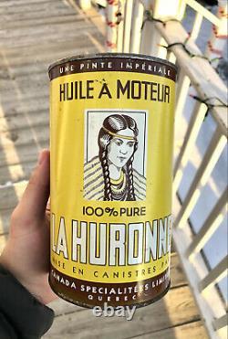 1940's La Huronne Imperial Quart Oil Tin Can Rare Indian Girl Logo Canada Quebec