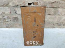 1940s Vintage Old Rare RIASC L Petrol Tin Can Automobile Collectible Brass Cap