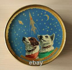 1961 USSR Russian Soviet Space Dogs Laika Belka Strelka Rocket Tin Box Can RARE