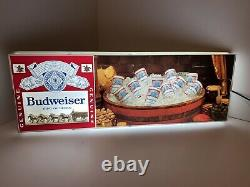 1970s Vintage Budweiser Wagon & Clydesdales Beer Cans Sign light 30x11 Rare