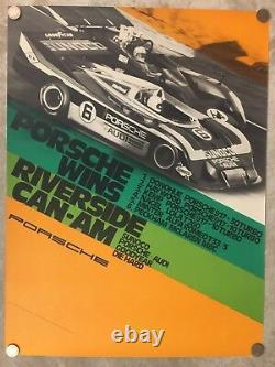 1973 Porsche 917-30 Riverside Can-Am Victory Showroom Advertising Poster RARE