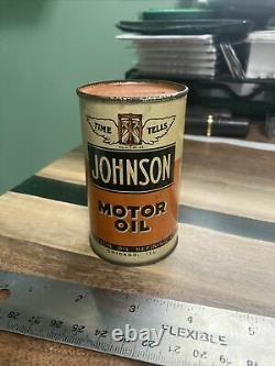3.5 Vintage Rare Johnson Motor Oil Can Coin Bank Chicago IL Displays Great