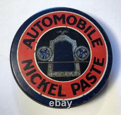 Antique 20s Automobile Nickel Paste Oil Can Tin Eureka Mfg Detroit Michigan Rare