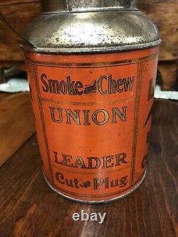 Antique Rare Union Leader Cut Plug Creamer Can Tobacco Tin