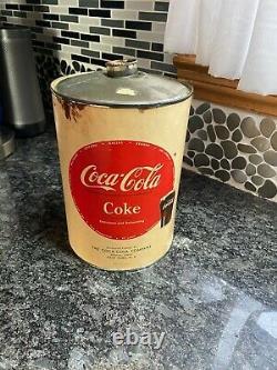 COCA COLA COKE FOUNTAIN SYRUP GALLON PAPER LABEL TIN CAN Rare