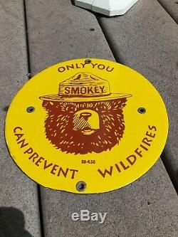 C. 1950 Original Smokey The Bear Only You Can Prevent Wildfires Sign Vintage RARE