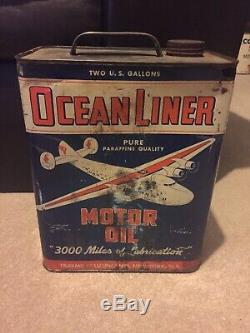 Early Rare Ocean Liner 2 Gallon Oil Can GAS and OIL