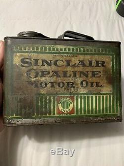 Early Rare Vintage Sinclair Opaline Motor Oil Pinstripe Half Gallon Can