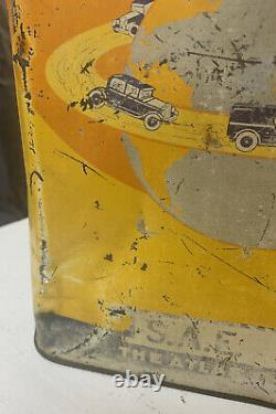 Early Vintage 2 Gallon around the world Motor oil Can Rare Can Car Graphics