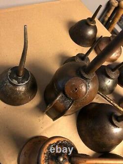 Huge Lot Of 16 Vintage Antique Thumb Press/trigger Oil Cans, Some Rare, Eagle