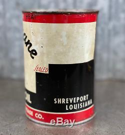 Hurricane Motor Oil Can Quart Shreveport Louisiana Vintage Lead Seam RARE