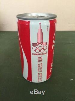 Italian RUSSIAN Font RARE! Original Coca-Cola Can Moscow 1980 Olympics