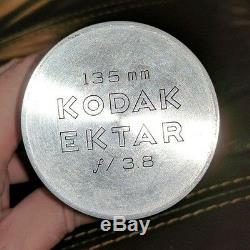 Kodak Ektar 135mm F3.8 Telephoto Lens In Original Can & Box Ektra Rare Htf Euc