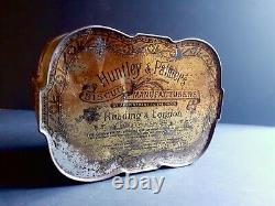 Old and rare 1892 tin can lithographed by the Huntley & Palmers Biscuit Company