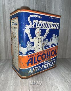 Original 1934 Snowman Anti Freeze 2 Gallon Can Gas Station Sign Car Ford RARE
