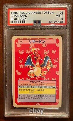 PSA 9 1995 Pokemon Topsun BLUE BACK Original Charizard #006 Rare As Can Be 4 U