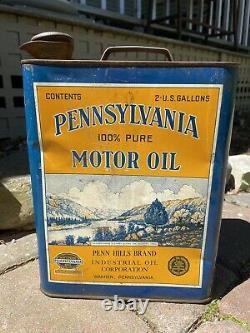 Pennsylvania Penn Hills Motor Oil Rare 2 Gallon Can Fair/Good Best Offer! (1834)