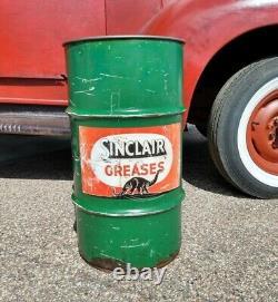 RARE 15 GALLON SINCLAIR GREASE OIL CAN Black Dinosaur Dino Vintage Antique sign
