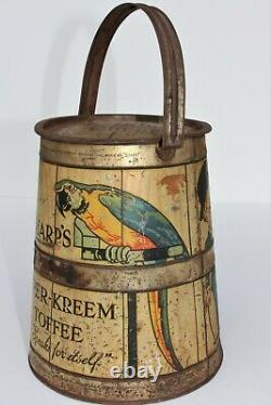 RARE 1910 Antique Advertising SHARP'S SUPER-KREEM TOFFEE Candy Tin Box Litho Can