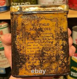RARE 1910's VINTAGE BUFFALO SOLID OIL CAN PRAIRIE CITY OIL CO. LTD, WINNIPEG