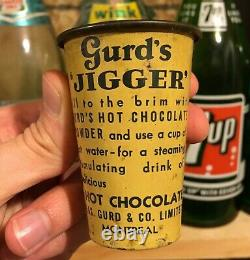 RARE 1920's VINTAGE GURD'S JIGGER HOT CHOCOLATE TIN MEASURING CUP CAN