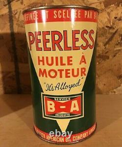 RARE 1930-40's VINTAGE B/A PEERLESS MOTOR OIL IMPERIAL QUART CANS BRITISH AMERI