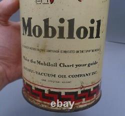 RARE 1930's VINTAGE GARGOYLE MOBILOIL MOTOR OIL IMPERIAL QUART CAN