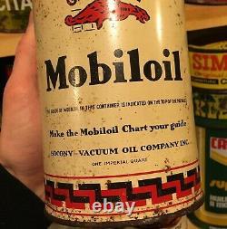 RARE 1930's VINTAGE GARGOYLE MOBILOIL MOTOR OIL IMPERIAL QUART CAN SOCONY-VACUUM