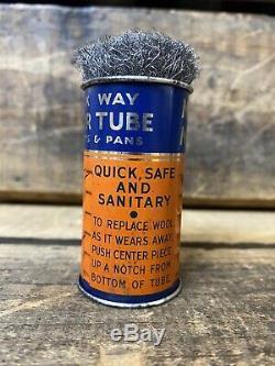 RARE 1930s Marathon Motor Oil Scour Metal Can Tube Vintage Advertising Display