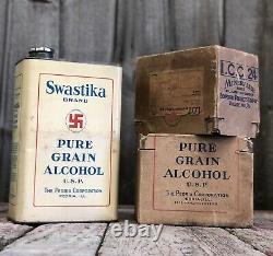 RARE 1931 Lucky SWASTIKA Pure Grain Alcohol Peoria Corp. Tin Can withBox AMAZING