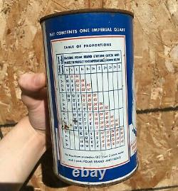 RARE 1950's VINTAGE CANADIAN TIRE POLAR BRAND ANTI-FREEZE IMPERIAL QUART CAN