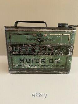 RARE 1/2 gal original Peerless Motor Oil can, Central Ohio Oil Co, Columbus, OH