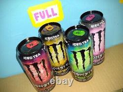 RARE 2014 Monster Energy Set of 4 Rehab ICED TEA Label FULL, SEALED 15.5oz Cans