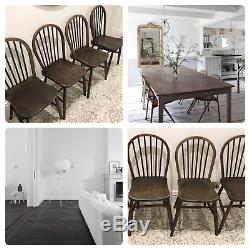 RARE 4 Original Early Ercol Solid Elm Wood Dining Chairs Scandi CAN DELIVER