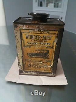 RARE ANTIQUE c. 1910 NOS WONDER MIST CAR CLEANSER POLISH METAL CAN 1 us quart