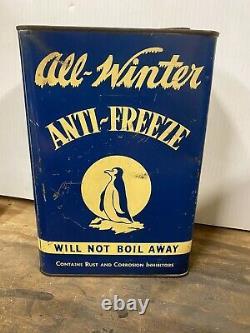 RARE All-Winter Anti-Freeze 1 Gallon Metal Can Penguin Graphic Columbus Ohio
