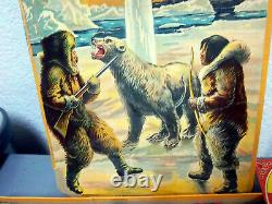 RARE! Antique Can you find the NORTH POLE board game, amazing graphics on lid
