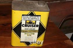 RARE CRUISER Motor Oil 2 Gallon Can Butler Pennsylvania Battleship Vibrant Color