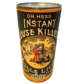 RARE EARLY 20TH C AMERICAN VINT'DR HESS INSTANT LOUSE KILLER' TIN CAN, WithLABEL