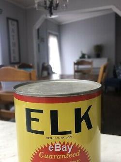RARE ELK Motor Oil Charleston West Virginia WV Quart Oil Can Advertising Tin