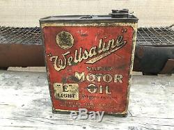 RARE Old Original early WELLSALINE Super FORD Motor Oil E oil can, enamel sign