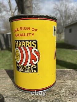 RARE Original Harris Premium Oil Can Quart AW Harris Oil Co Rhode Island Gas Oil