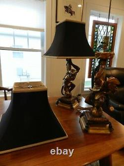 RARE PAIR OF Pirate Monkey Table Lamps-Can you identify them BERMAN