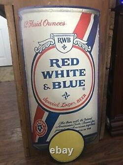 RARE Red White & Blue Beer Advertising Cardboard Can Shape Pabst Breweries 1981