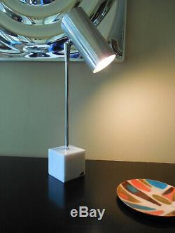 RARE Robert Sonneman Marble Cube Desk Table Lamp for Kovacs Aluminum Can 1960s