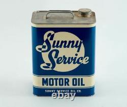 RARE SUNNY SERVICE Motor Oil can 2 gallon Advertising CLEAN ANTIQUE Perrysburg