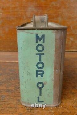RARE Vintage 1920s Dixoline Motor Oil Half Gallon Slim Metal Oil Can Lytton Iowa
