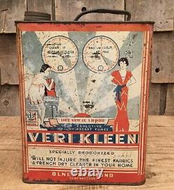 RARE Vintage 1920s VERI KLEEN Cleaning Detergent Tin Can Art Deco Advertising