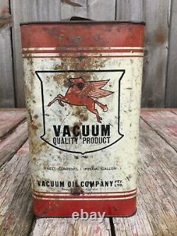 RARE Vintage 1Gal Australian VACUUM MOTOR OIL Tin Can Flying Pegasus Advertising