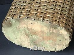 RARE Vintage GOLD BARBOLA ROSES BOW Swags Trash Can Wicker Antique Wastebasket